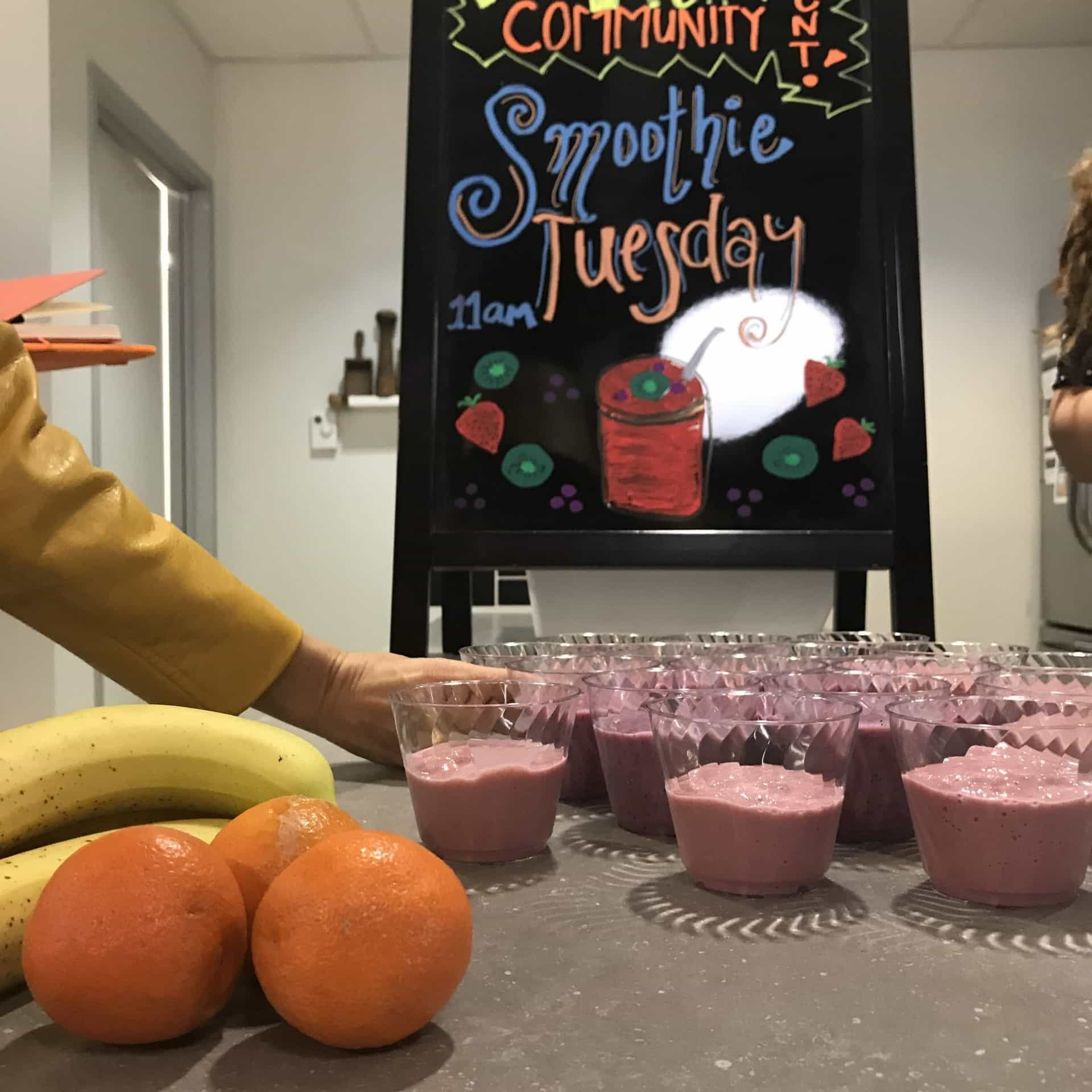 Lots of smoothies lined up