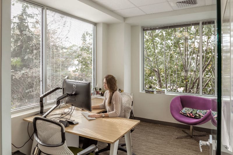 NGIN Workplace member working in her private office space in Cambridge MA, with a beautiful view of the tall trees outside.